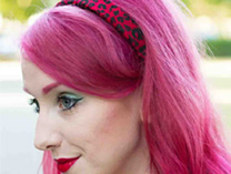 Red leopard velvet hair band