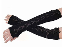 Long black gloves with brocade and laces