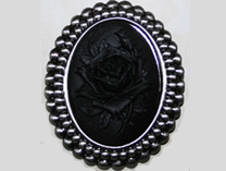 Broach with Black Rose