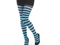 Striped Tights - Black/Turquoise