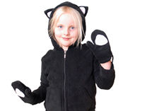 Kids Black Kitty Hood