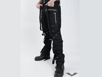 Trousers with bondage straps and buckles